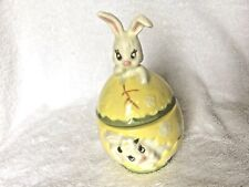 Easter Egg Ceramic Box Yellow w Bunny Rabbit Lid