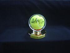 Lleyton Hewitt Signed Tennis Ball in gold pedestal display.