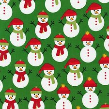 Snowmen on Green Jingle 4 Kaufman Quilt Fabric by the 1/2 yard