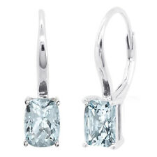 Sterling Silver Cushion Cut Genuine Aquamarine Earrings Dangle Leverback Halo
