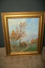 VINTAGE 40s LANDSCAPE OIL PAINTING LINEN BOARD AUTUMN PARIS APT COTTAGE