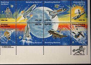 US NASA 1981 SCOTT 1912-1919 18c SPACE ACHIEVEMENTS 8 STAMP MVF 18c ZIPPY BLOCK