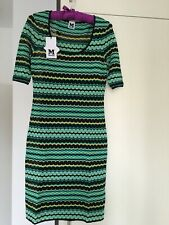 M MISSONI IN AQUA, BLACK, YELLOW FINE CROCHET KNIT -BNWT -IT 42 /UK 10 -RRP £450