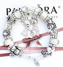 "Authentic PANDORA Silver Bracelet Kissing ""A LOVE STORY!"" European Charms New."