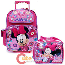 Minnie Mouse Large School Roller Backpack with Lunch Bag Set- Glittering Pink