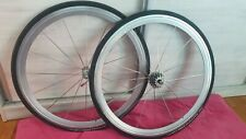 VINTAGE CAMPAGNOLO SHAMAL With clincher AERO Wheel Set And Cassette  - SILVER