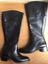 """Etienne Aigner 5.5 M Black Leather Knee Hi Boot Logo Band 1.5"""" Heel Wide Shaft"""