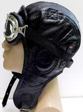 WWII Handmade Genuine Leather Aviator, Pilot,Motorcycle Helmet Hat Cap L size