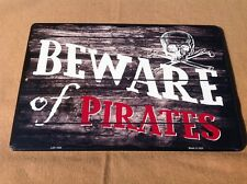 "Beware Skull Warning Pirates Sign Vintage Garage Bar Wall LARGE 18"" X 12"""