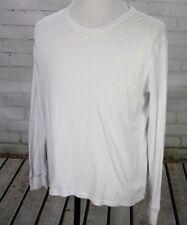 GUESS Long Sleeve T-Shirt 100% Cotton Men's XL White Logo Top Waffle Knit