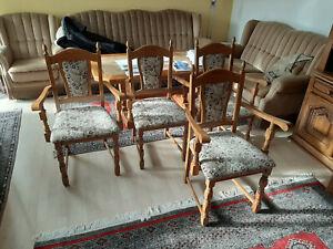4x Stuhl / 4 Stühle braun massiv gepolstert