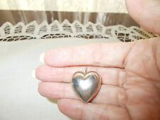 Vintage Sterling Silver Puffed Heart Pendant  Signed on inside of bale 3.3 gram