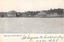 1907 Merry Go Round on Shore Hoag Lake Woonsocket RI post card