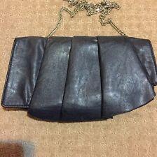 Portmans Clutch Bag Black Leather Look Silver Chain Pleated Purse Handbag Stud