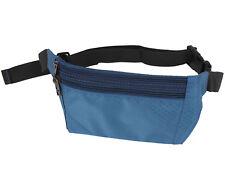 Men Adjustable Strap Steel Blue Nylon Waist Pouch Bag