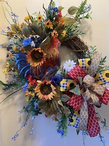Everyday Wreath, Fall Wreath, Rooster Decor, Home Decor, Wall Decor