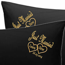 PERSONALISED EMBROIDERED PILLOW CASES JUST MARRIED Bride n Groom NAMES, DATE