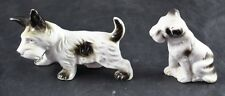 Vintage Lot Of 2 Scottish Terrier Porcelain Figurines Made In Japan Black White