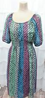 Mossimo Women's Size Medium Chiffon Smocked Waist Boho Peasant Blouson Dress