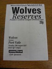 19/08/1997 Wolverhampton Wanderers reservas V Port Vale reservas (cuatro páginas).