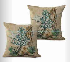US SELLER, 2pcs seahorse shell starfish cushion cover decorated homes interior