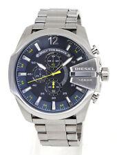 NEU Diesel DZ4465 Mega Chief Herren Uhr Chronograph Edelstahl Farbe: Silber Blau