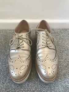 Zara Brogues Size 6 Gold Leather Platform Lace Up Ladies Shoes Oxfords
