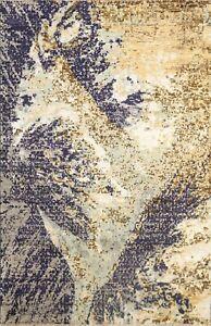 Contemporary Wool/ Silk Abstract Modern Oriental Area Rug Handmade 4x6 Carpet