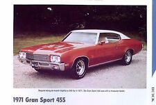 1971 Buick Skylark GS 455 Stage 1 info/specs/photo production numbers 11x8
