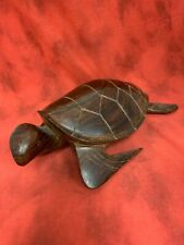 Hand Carved Wood Sea Turtle Sculpture Ironwood Carving Ocean Art Figure 12 Inch