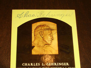 Charles Gehringer Detroit Tigers Signed autographed Yellow HOF Plaque