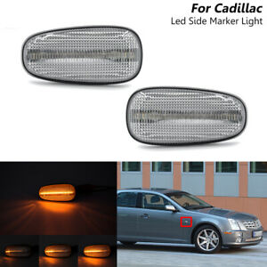 Sequential Clear Led Fender Side Marker Bliker Light For Cadillac STS STS-V 05-