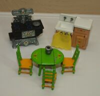Vtg Mattel LITTLES Family Lot KITCHEN & DINING FURNITURE Table Chairs Stove Sink