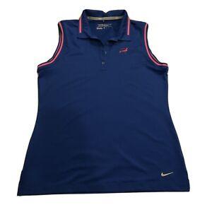 NIKE Golf Tour Performance Dri-Fit Blue Sleeveless Collared Shirt Size M NWOT