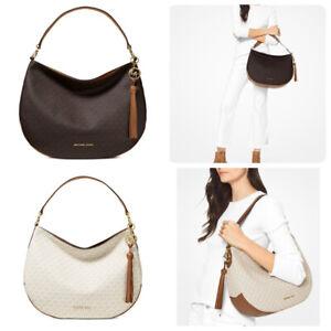 Michael Kors Brooke MK Signature PVC Large Zip Shoulder Hobo Bag