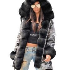 Women's Winter Long Warm Thick Cotton Outdoor Parka Faux Fur Jacket Hooded Coat