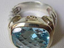 $1100 DAVID YURMAN 14/K GOLD,SS BLUE TOPAZ LARGE NOBLESSE RING sz 10
