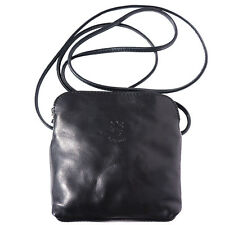Crossbody Bag Italian Genuine Leather Hand made in Italy Florence 8609 bk