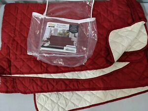 PreOwn Easy-Going Red Quilted Slipcover Lounge Sofa Cover Reversible 3 Seat Sofa