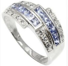 TANZANITE  & DIAMOND SILVER RING 0.40 CWT EARTH MINED STONE HALLMARKED  WHITE