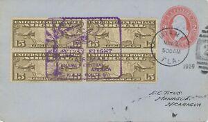 "USA 1929, sehr selt. Kab.-Erstflug F.A.M. Route 5 ""MIAMI - MANAGUA, Nicaragua"""