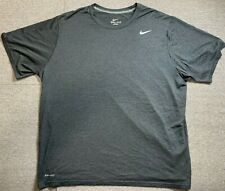 Nike Mens Grey Dri Fit T Shirt Adult 2X Large Activewear Polyester Top Size 2XL