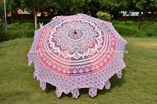 Indian Pink Ombre Mandala Garden Umbrella Round Patio Sun Shade Beach Parasols