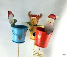 3er Set Blech Eimer mit Figur am Draht Weihnachten Deko Floristik