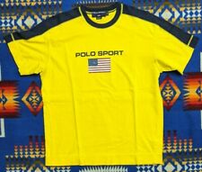 VTG 90s Polo Sport Ralph Lauren Flag Spellout Logo Yellow Short Sleeve T-Shirt M