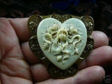 (CM150-5) WOMAN HEART gray CAMEO Pin Pendant Jewelry brooch necklace
