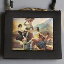 VTG Classical French Farming Scene Satin Pocket Book Petite Purse Gold Frame