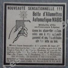 Publicité Boite allumettes automatique MAGIC Medaille or concours Lepine 1927