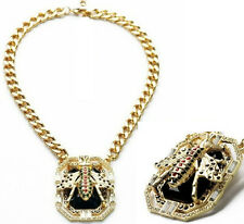 N761 Betsey Johnson Rhinestone Queen Bumble Honey Bee Insect Chain Necklace US