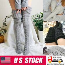 Women Warm Winter Knitted Socks Over Knee Long Thigh High Boot Soft Stockings